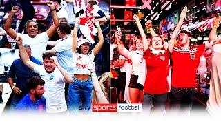 England fans celebrate England goals and full time England 2 1 Denmark Euro 2020