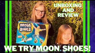 WE TRY OUT BIG TIME TOYS MOON SHOES   NEW OUTDOOR TOY REVIEW