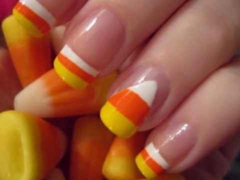 Halloween Nail Art: Candy Corn Nails - Halloween Nail Art: Candy Corn Nails - YouTube