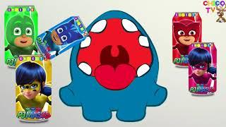 顏色學習Om Nom Pj面具可樂瓶Pj面具Owlette Gekko手指家庭null