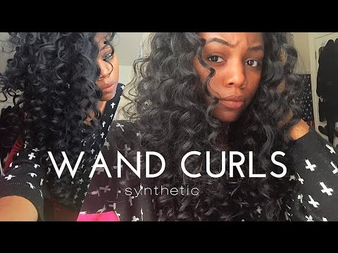 WAND CURLS ON SYNTHETIC HAIR - YouTube f0d38fc50