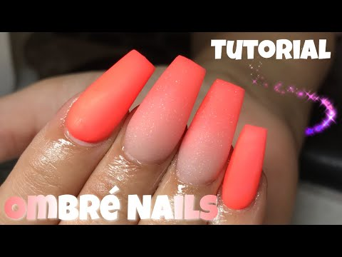 Fun Summer Orange Ombre Coffin Nails