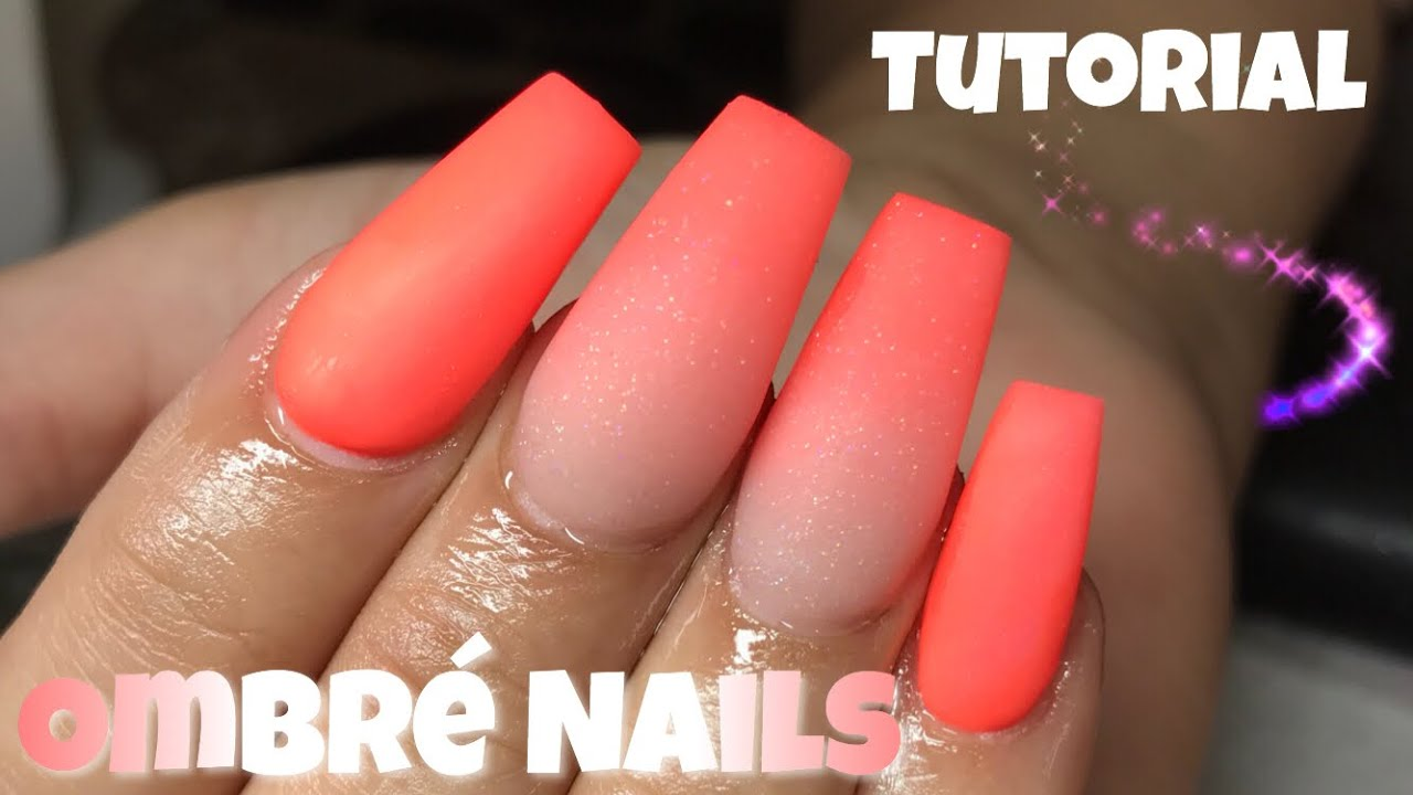 Fun Summer Orange Ombre Coffin Nails - YouTube