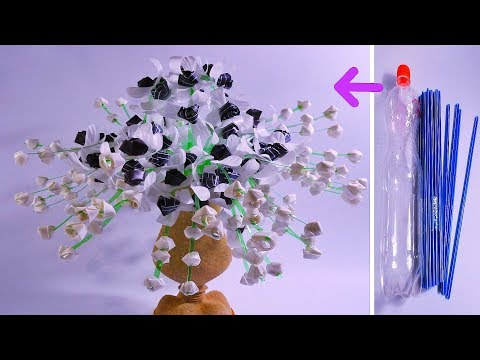 Cara Membuat Bunga Anggrek Botol Plastik Dan Sedotan Kreatif Beautiful Flower With Straw Youtube