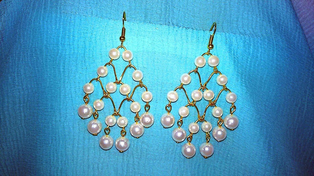 Pearl Chandelier Earrings Making / Tutorial / DIY - YouTube