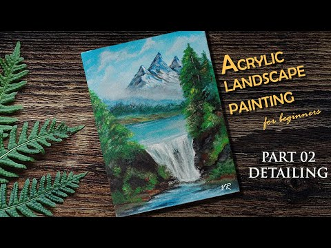 Acrylic landscape painting tutorial: PART 2 |Malayalam step by step tutorial for beginners