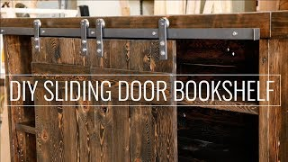 "In this video I create a reclaimed wood bookshelf with some sliding ""Barn Door "" style rolling track using simple woodworking. I make"