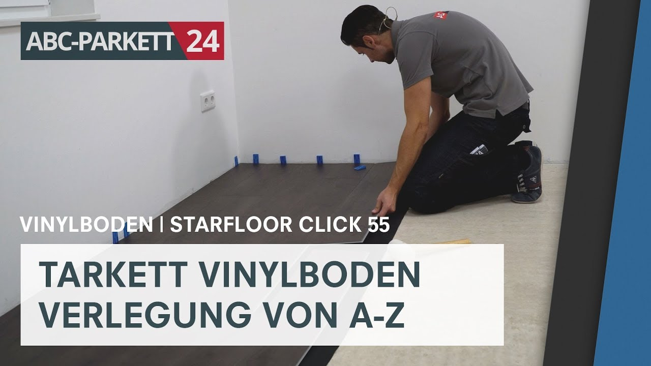 tarkett vinyl starfloor click 55 richtig verlegen youtube. Black Bedroom Furniture Sets. Home Design Ideas