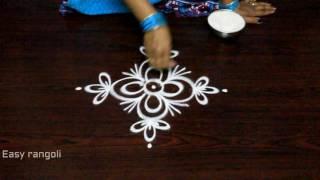 simple rangoli designs with side borders || freehand kolam designs || freehand muggulu designs