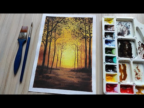 Forest Trees Watercolor Tutorial for Beginners  | Easy Watercolor painting Techniques |