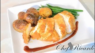 Fathers Day Dinner Recipe Served With Fried Chicken Breast And New Potatoe And Veg