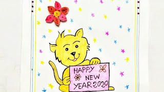 HOW TO MAKE EASY GREETINGS CARD FOR KIDS HAPPY NEW YEAR 2020 GREETINGS CARD HANDMADE CARD DIY
