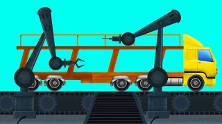 Auto Transport Truck | Car Garage | Toy Factory | Kids Video | Learn Vehicles