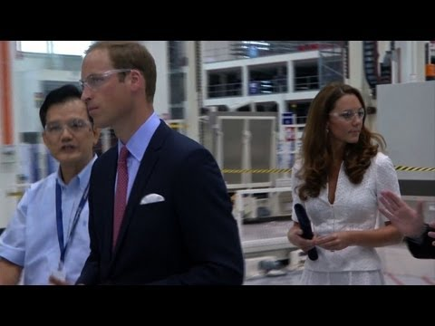 William and Catherine visit Rolls Royce plant in Singapore