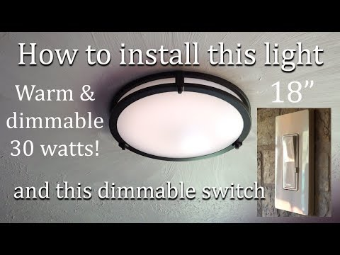 replacing-old-kitchen-light-with-new-led-flush-mount-ceiling-light-and-dimmer