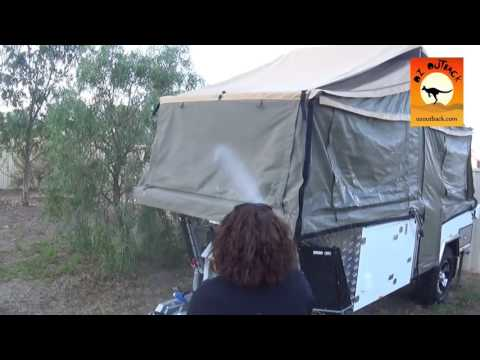 Wetting down Canvas on a Camper Trailer