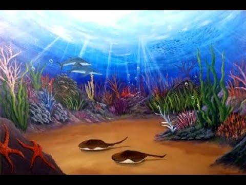 Life Underwater - Coral Reef Seascape Acrylic Painting Tutorial