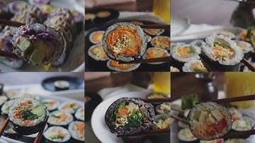 김밥 일상 | 5 분 단무지 만들기 | 6 Vegan Gimbap & 5 minutes Danmuji, Korean Pickled Radish