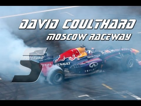 Moscow Raceway: David Coulthard on Renault F1. Loud sound and burnout
