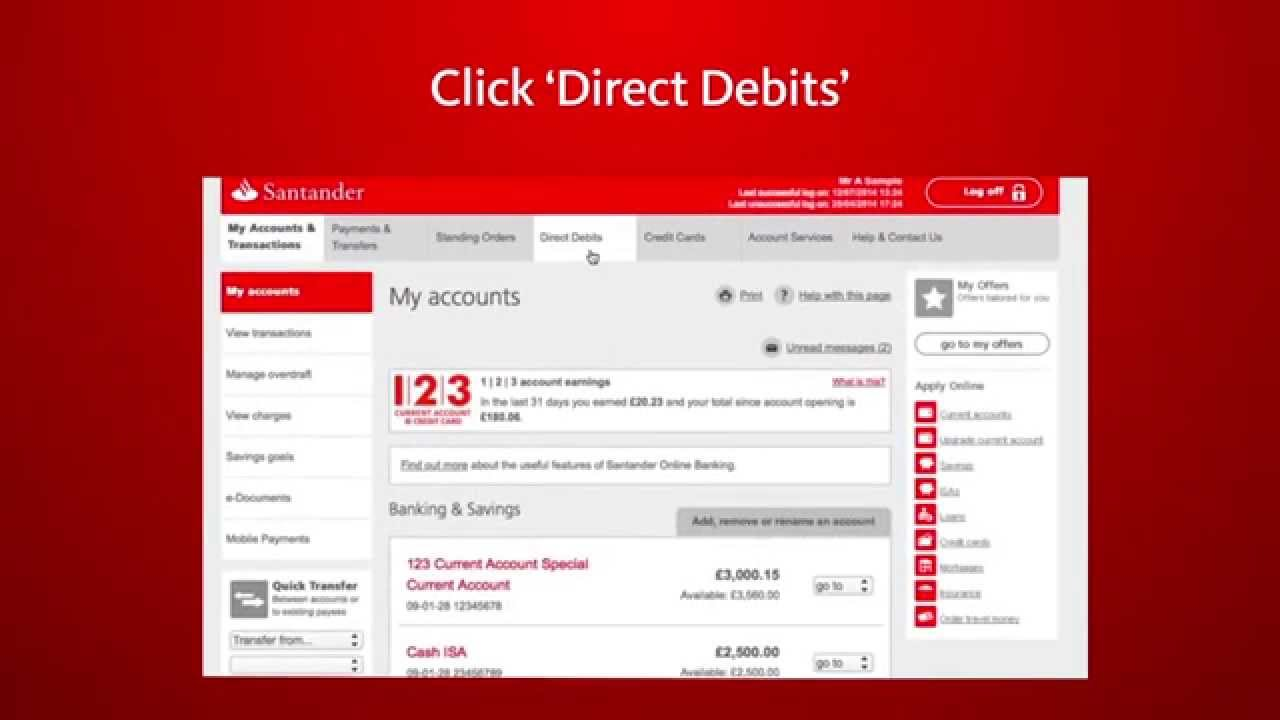 Santander Online Banking –Set up, amend and cancel Direct Debits