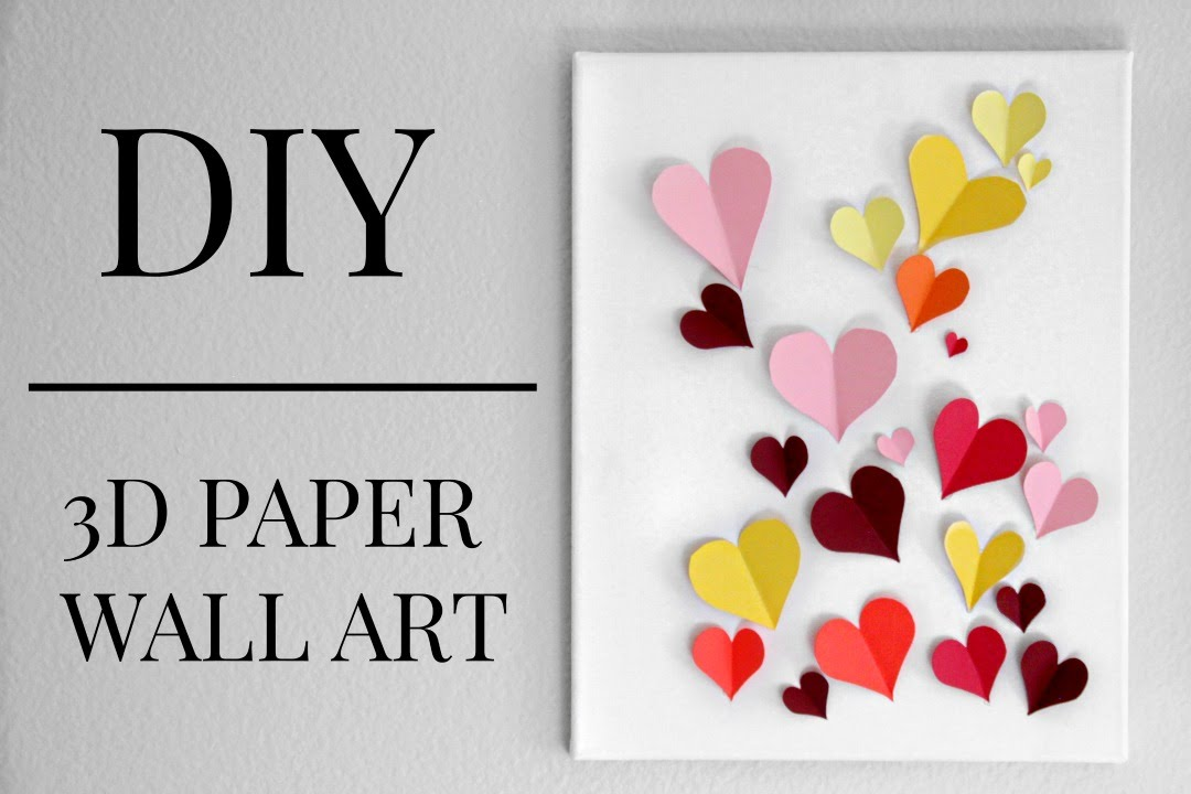 Heart Wall Art diy 3d paper heart wall art (under $20) || kaitlyn coskun - youtube