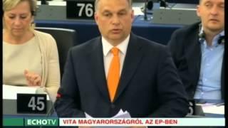 Orbán reagálása a kritikákra Strasbourgban (2015-05-19) - Echo Tv