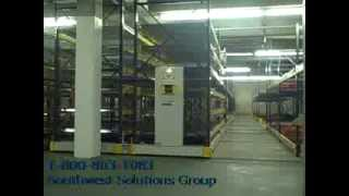 Synchronized Movable Aisle Pallet Racks Moving Between Building Columns Thumbnail