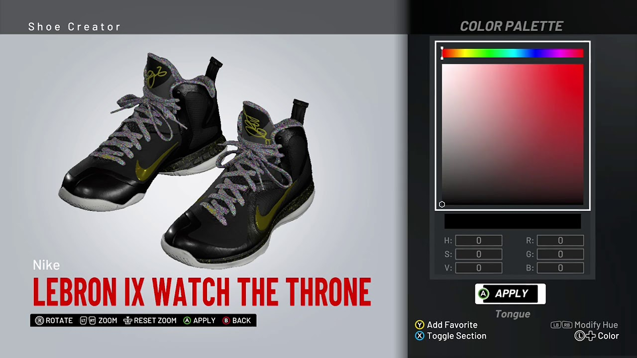 check out 2c39c 72ca3 NBA 2K19 Shoe Creator - Nike LeBron 9