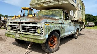 SWAMP Dragon Rescue! Abandoned 1974 F250 Custom 390 V8 FORD, Forgotten Vintage Camper Restoration CT
