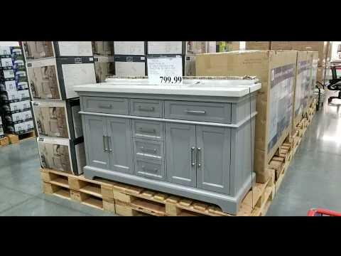 "Costco! Mission Hills 60"" Gray Double Sink Vanity w/ Quartz Top! $799!!!"