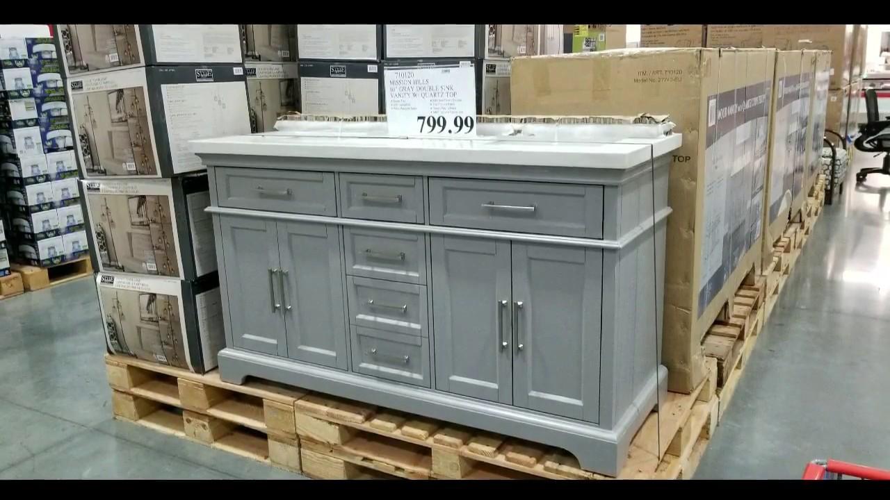 Costco Mission Hills 60 Gray Double Sink Vanity W Quartz Top 799