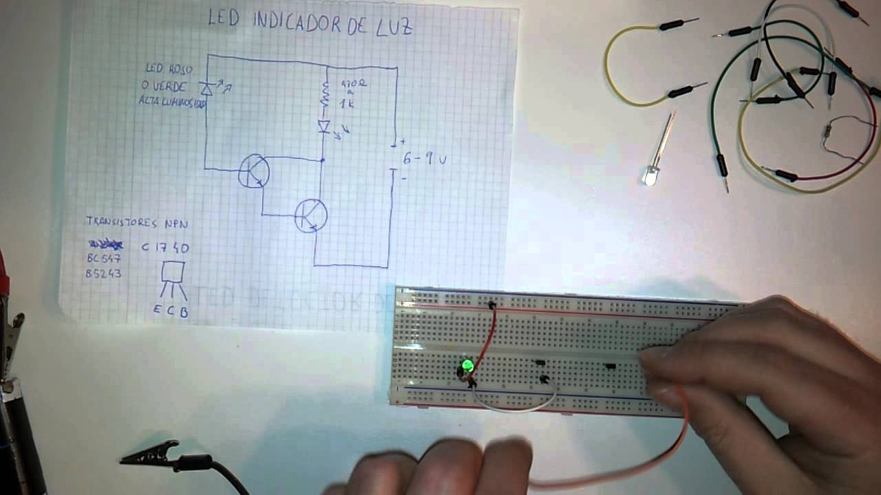 Detector de luz con un led circuito protoboard youtube - Detector de luz ...