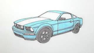 How to Draw a Car   Ford Mustang GT