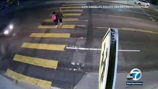 Dramatic video from Glassell Park shows a father risking his life by pushing his daughter out of the way of a speeding car, which ends up striking him instead.
