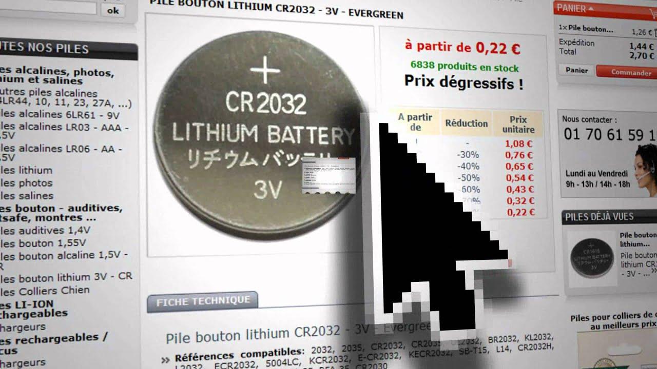 cr2032 pile bouton lithium 3v youtube. Black Bedroom Furniture Sets. Home Design Ideas