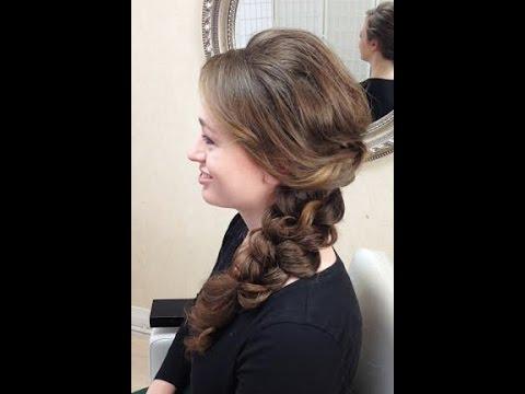 Wedding hair trial run - side braid - YouTube