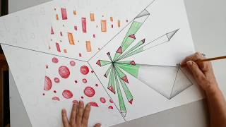 Explosion 3D Artwork with 1Pt Perspective and 3 Color Schemes