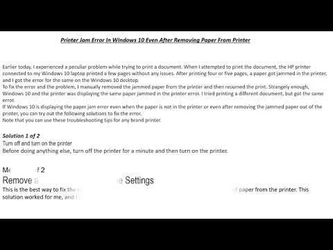 Printer Jam Error In Windows 10 Even After Removing Paper From Printer