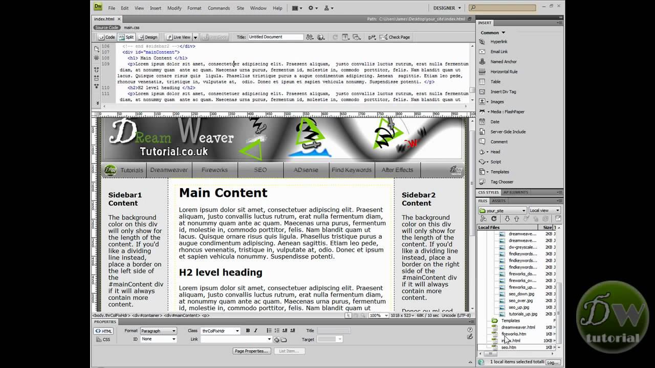 dreamweaver template tutorial part 5 creating links youtube