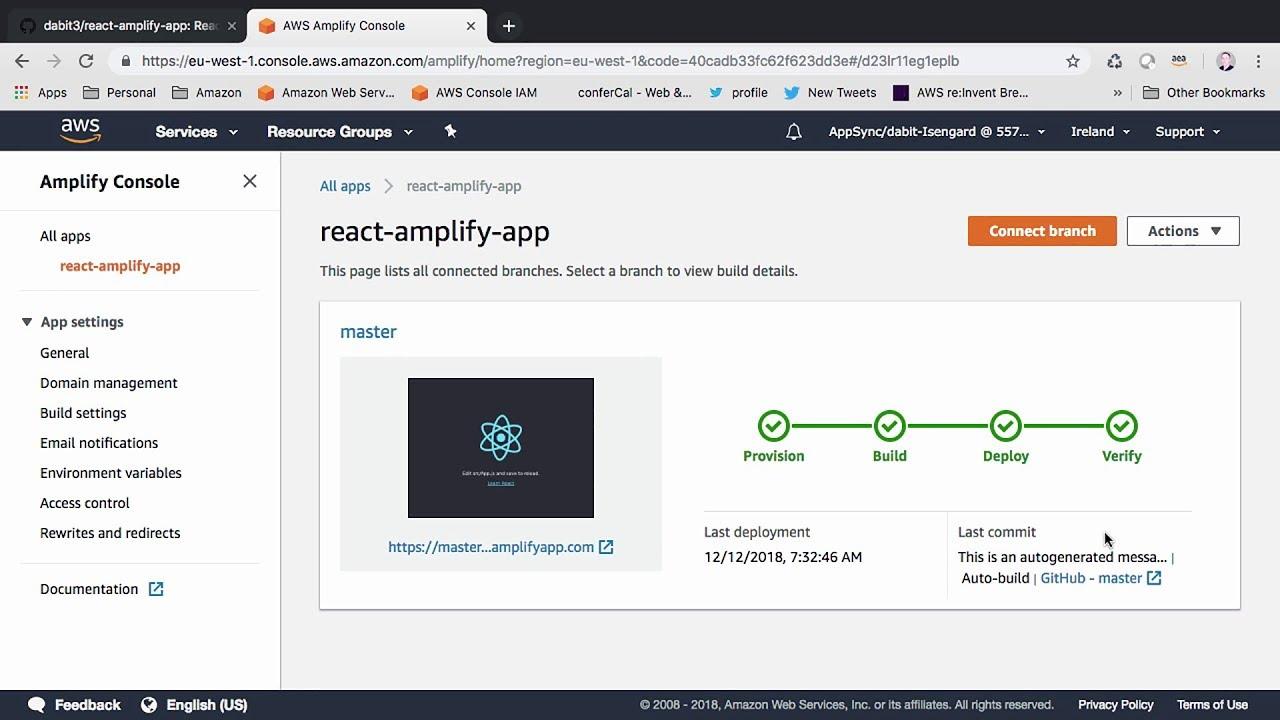 Deploy a ReactJS app to the AWS Amplify Console