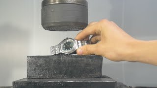 Crushing Swiss Watch with Hydraulic Press
