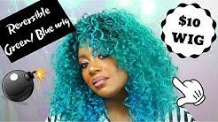 Ombré Green/Blue hair | Curly Afro review | Two way wear wig tutorial