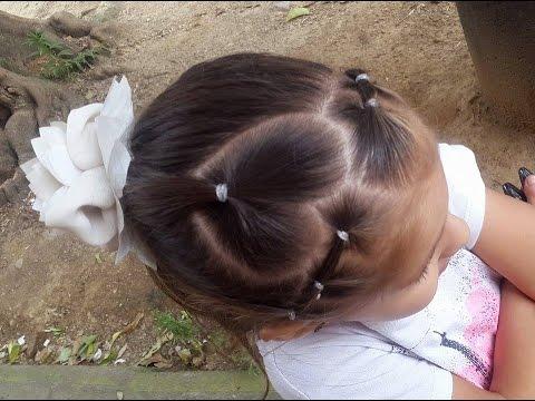Peinado de coleta para niña con corazón / Ponytail for girls with heart ❤ , YouTube