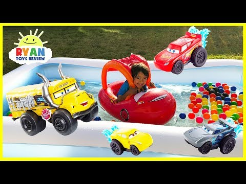 Thumbnail: Disney Cars 3 Toys Lightning McQueen Kids Swimming Pool with Ball Pits Color Balls