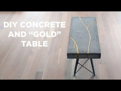 DIY Concrete and Gold Table   Kintsugi