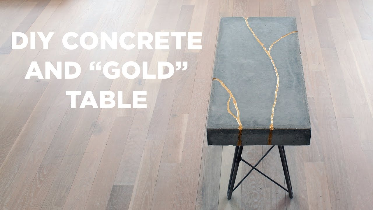 Diy Concrete And Gold Table