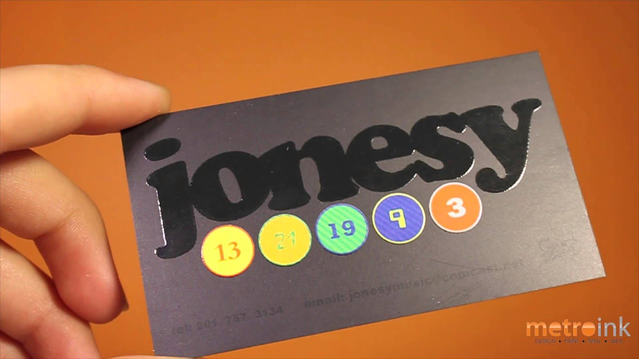Metroink Silk Raised Spot UV Business Card Jonesy - YouTube