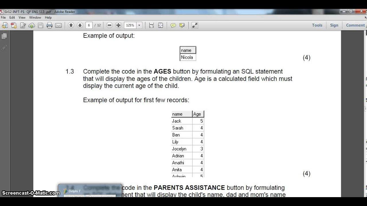 SQL in Delphi - School Example (Part 1) EC 2013 Sept P1
