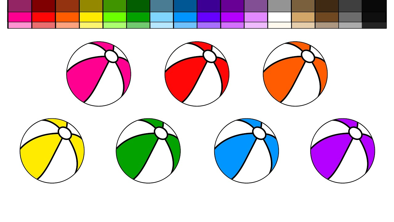 Learn Colors For Kids And Color Beach Balls On A Coloring Page