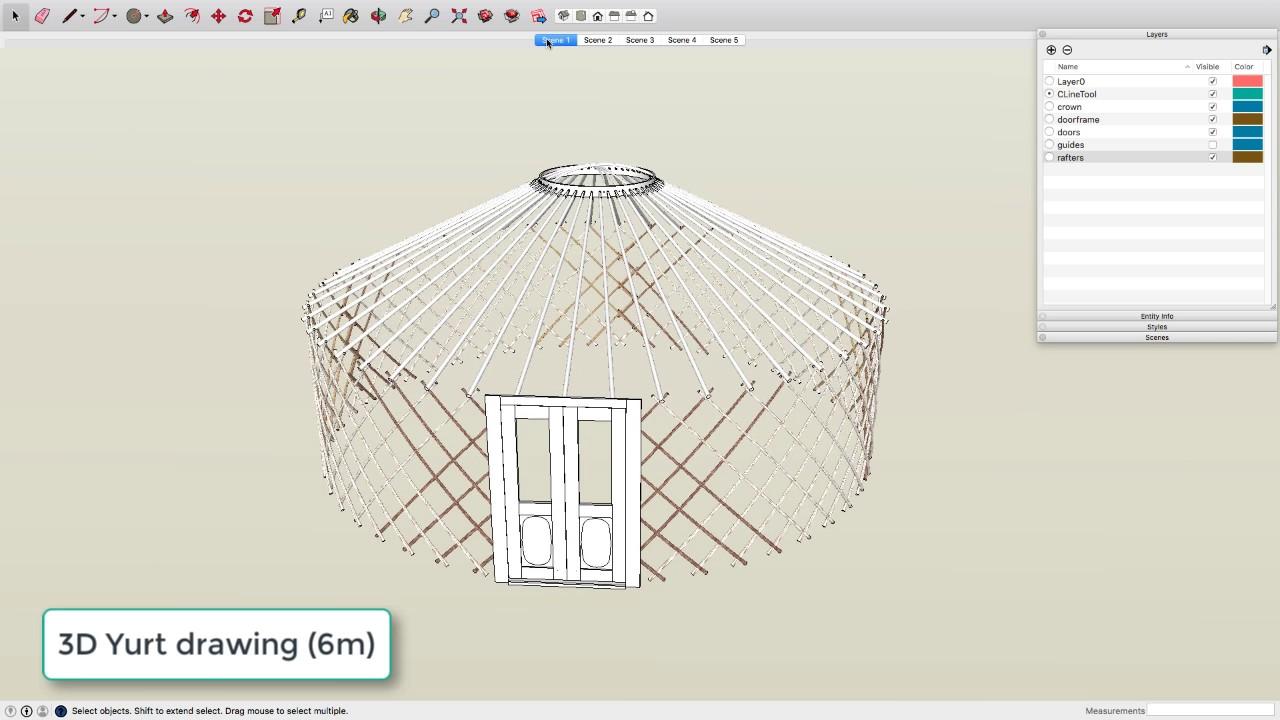 Yurt Drawing  Google Sketchup 3d Model  For Yurt Making